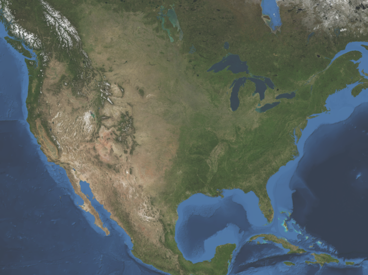 Satellite Map for United States on